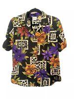 Vintage M Purple Orange Flower Aztec Pattern Shirt Blouse Medium S L Retro Crazy