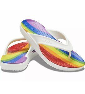 Crocs Classic II Rainbow Stripe Mens White Flip-Flops Sandals Shoes W8, M10