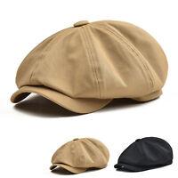 COTTON TWILL GATSBY CAP NEWSBOY IVY DRIVING HAT GOLF CABBIE MEN BLACK KHAKI V
