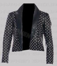 New Handmade Woman Full Silver Studded Punk Brando Cowhide Leather Shirt Jacket
