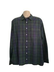Tommy Hilfiger Mens XL Immaculate Green Gunpowder Blue Check Shirt