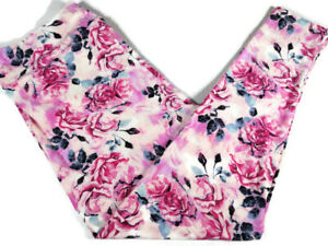 Lularoe Womens Leggings TC2 18-28 Pink Roses Floral Feminine Curvy Tall Plus Sz