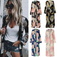 Womens Boho Floral Printed Long Kimono Cardigan Maxi Dress Coat Top Summer Beach