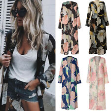 Women Boho Floral Chiffon Beach Kimono Cardigan Long Cover Up Jacket Coat Top