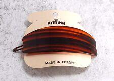 Vintage Hair Barrette Karina Tortoise Brown Color PLastic Signed Swiss Oval Scoo