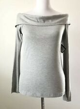 Halogen NEW Womens Size Small S Grey Ribbed Off the Shoulder 3/4 Sleeve Top