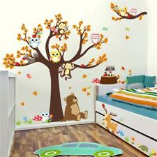 Adesivi Murali Cartoon Forest Animal Monkey Tree Gufo Bambino Room Decal Decor