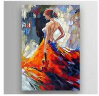 ZWPT943 100% handmade painted girl with a violin oil painting  art on Canvas