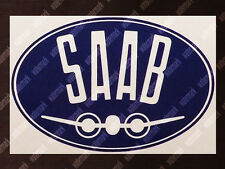 DIECUT OVAL SAAB AIRCRAFT LOGO DECAL / STICKER 6 x 4 in / 15 x 10 cm