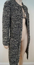 SONIA RYKIEL Black & Cream Loose Chunky Knit Long Length Tie Neck Cardigan Top