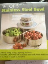SET OF 5 Stainless Steel Mixing Bowls W / Lid Nesting Metal Mixing Bowls NEW