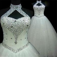 New Bling Beaded Wedding Dresses White/Ivory Ball Bridal Gowns Custom Size 4-26+