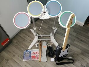 Rock Band Drum Set With Wireless Guitar Nintendo Wii PLEASE READ