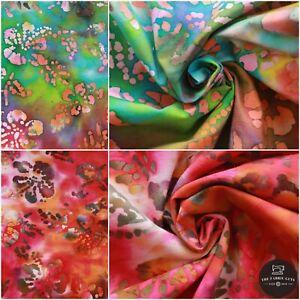 Batik Fabric, Hand Printed Floral Marble Effect,100% Premium Cotton, 110cm Wide