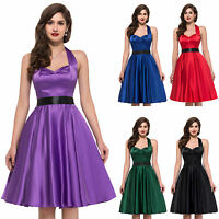 2016 SUMMER Satin Housewife Vintage Retro Style 50s Swing Party Prom Pinup Dress