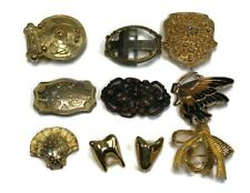 LOT OF 10 Smaller Size Women's Western Gold Tone Butterfly Bow Tooth Belt Buckle