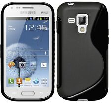 Amzer Alto Brillo Tpu Hybrid Funda Para Galaxy S Duos 2 s7582 S7562-Negro