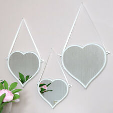 Set of 3 white wall mirror heart shape display vintage pretty lovehearts girls