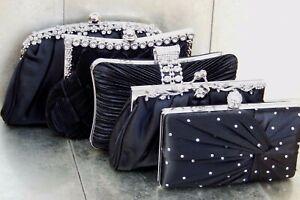 Black Diamante Crystal Satin Bridal Wedding Prom Purse Clutch Bag Handbag UK