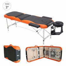 Folding Massage Table Bed with Adjustable Height Aluminium Frame (Orange,Black)