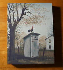 ROOSTER OUTHOUSE Rustic Country Style Kitchen Wood Block Sign Home Farm Decor