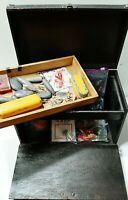 Antique Tackle Box With Vintage Lures Hooks Fishing Weights & More Made in USA