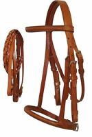 English Saddle Cob Size Raised Chestnut Leather Horse Bridle w/ Laced Reins