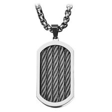 INOX Stainless Steel Three Cable Dog Tag Pendant with 30 inch Chain SSP6211