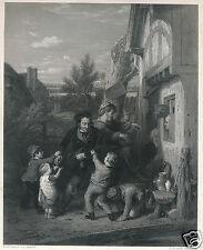 1840 The Vernon Gallery G. Virtue steel engraving Fair-Time W. Mulready