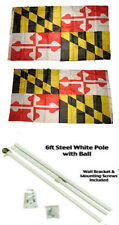 3x5 State of Maryland 2ply Flag White Pole Kit Gold Ball Top 3'x5'