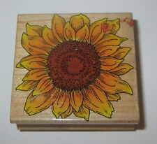 Sunflower Rubber Stamp Hero Arts Flower Rare Retired Design Wood Mounted 2