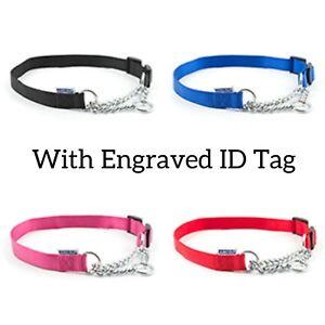 ANCOL HALF CHECK/CHOKE (NYLON/CHAIN) DOG COLLAR (5 Sizes) with Engarved ID  Tag