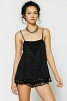 Ecote Urban Outfitters Medium Black Floral Beaded & Tassel Hem Strappy Tank Top