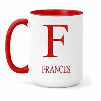 Frances Nombre & Inicial Taza - Regalo en Varios Colores para Café o Té