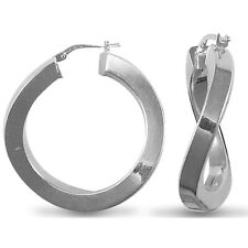 Jewelco London Sterling Silver Square Tube Curved Hoop Earrings