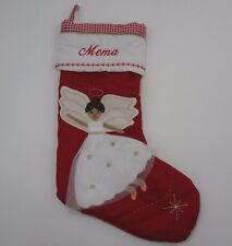 Pottery Barn Kids Christmas Stocking embroidered Mema Angel