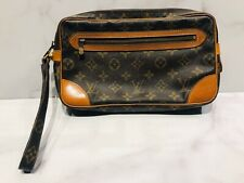 Vintage Louis Vuitton LV Brown Monogram Logo Wristlet Clutch Bag