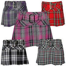 Ladies/Womens Buckled Tartan Side Pleat Back Zip Short Mini  Skirt UK 6-16