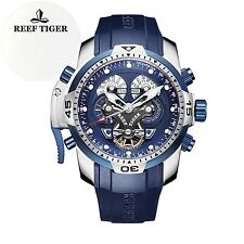 Reef Tiger Mens Sport Watch Complicated Blue Dial Black Rubber Steel New