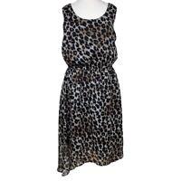 PAPAYA Ladies DRESS Black UK Size 12 Leopard Print Blouson Y1