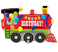 "Locomotive Train Happy Birthday Banner Multi-Color 37"" Foil Mylar Balloon Party"