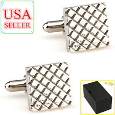 Fashion Men Cufflinks Silver Square Metal Cuff Links With Gift Box