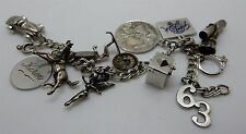 Vintage 1960s Sterling Silver Charm Bracelet 10 Sterling & 2 Other Charms 39 gra