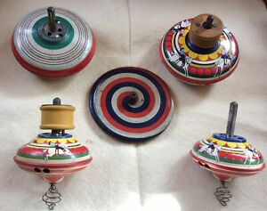 LOT OF 5 ANTIQUE / VINTAGE EARLY  TIN SPINNING TOY TOPS