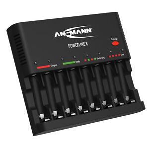 ANSMANN Akkuladegerät für 1-8 AA/AAA Akkus mit Entladefunktion Powerline 8