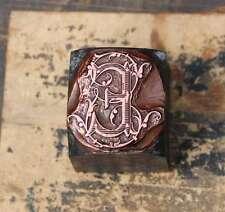 """""""E"""" Initial Monogramm Druckstock Klischee Buchstabe Galvano Vintage shabby chic"""