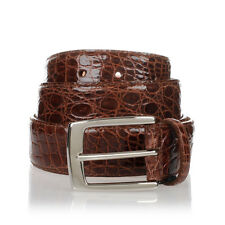 MEN'S BELT REAL SKIN OF CROCODILE BROWN MADE IN ITALY 120cm/3,5cm NEW