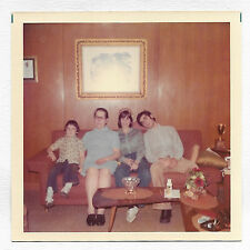 Square Vintage 70s PHOTO Little Boy & Teen Couple w/ Woman Grandma? On Couch