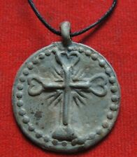 Ancient rare pendant with a cross  Middle Ages