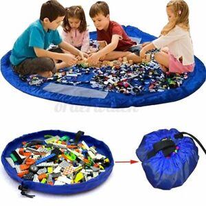 150cm Kids Portable Toy Storage Bag Organiser Play Mat Rug Drawstring Tidy Blue